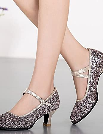 ShangYi Non Customizable Women's Dance Shoes Modern Leatherette Chunky Heel Black/Blue , blue-us8 / eu39 / uk6 / cn39 , blue-us8 / eu39 / uk6 / cn39