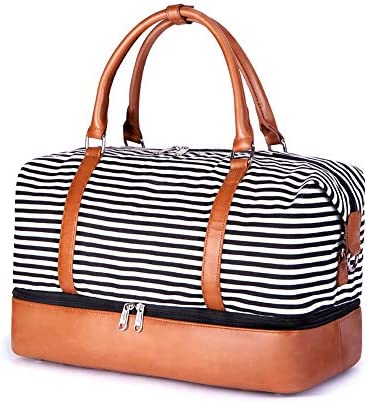 SUVOM Women Weekend Bag Canvas Overnight Travel Tote Bag Carry on Shoulder Duffel Bag With PU Leather Strap Black White Thin Stripe with shoe compartment