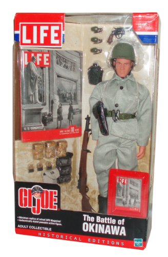 GI Joe Year 2002 LIFE Historical Edition 12 Inch Tall Soldier Action Figure Set - The Battle of Okinawa with Soldier Figure, Miniature LIFE Magazine, Grenades with Removable Pins, M1 Garand Rifle, Harness/Holster, Boots, Grenade Bag, Miniature LIFE Magazine Cover, Dog Tags with Chains, Entrenching Tool, .38 Revolver, Canteen, Jacket, Helmet, Pants, Belt/Clips, Ammo Bag and M1 Bullets