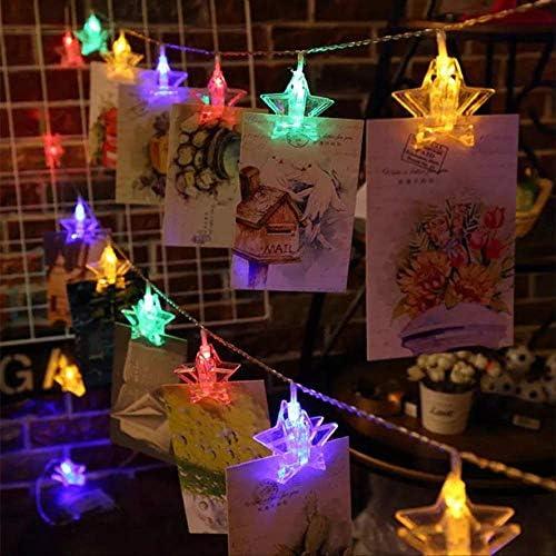 No brand Weihnachtsbeleuchtung Led Sterne Karte Foto Clip Lichterketten Batteriebetriebene Lichterketten Dekorative 6 Mt 40 LEDs Bunte