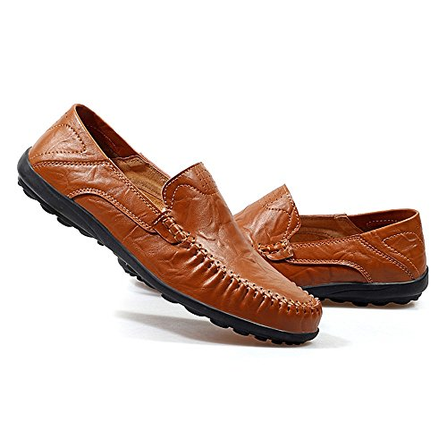 Slip Slouch Red Talón 37 EU Zapatos Xiazhi Vamp Slip Brown Oficina Hombre Ocio shoes On Mocasines Color Plano Casuales tamaño npnEXgWq
