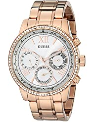 GUESS Womens U0559L3 Sporty Rose Gold-Tone Stainless Steel Watch with Multi-function Dial and Pilot Buckle