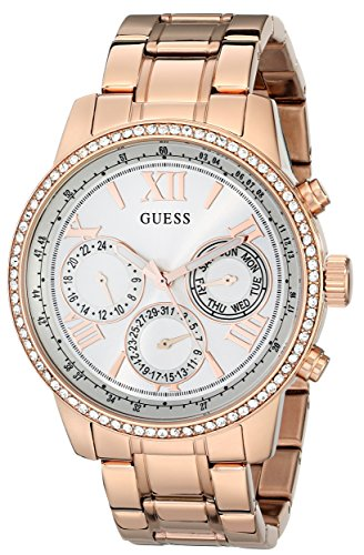 Steel Stainless Buckle Dial (GUESS Women's U0559L3 Sporty Rose Gold-Tone Stainless Steel Watch with Multi-function Dial and Pilot Buckle)