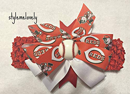 Cincinnati Reds Baby Girl Boutique Bow Crocheted Headband ()