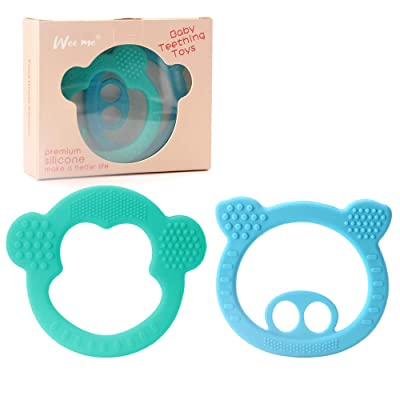 Soft Silicone Baby Teething Toys - BPA Free Silicone Teether, Easy to Hold, Pain Relief Teether Toys Best Baby Shower Gift, 2 Pack : Baby