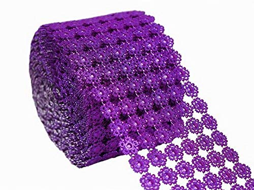 Mikash 10 Yards x 4.75 MESH WRAP ROLL Beaded Ribbon Wedding Party Crafts Decorations | Model WDDNGDCRTN - 74 | ()