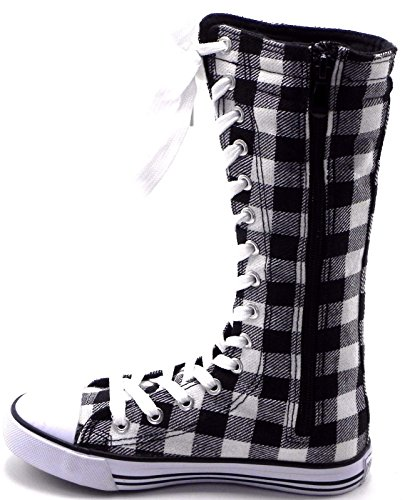 Punk Dev Skate Girls Going Plaid Size New Kids Sneakers up Tall 1 White Dancing Canvas Consider Boot Black Classic Shoes 10 rrEY0