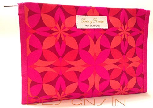 Tracy Reese for Clinique Cosmetic Bag, Red, Orange, Pink Floral (Clinique Pink Cosmetic)