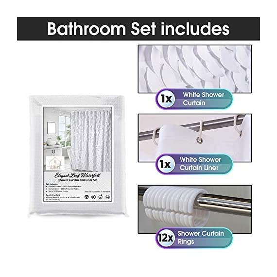 White Shower Curtain & Liner with 12 Shower Curtain Hooks. 72 x 72 Inch Eco Friendly 100% Polyester Fabric Farmhouse Shower Curtain Bathroom Set. Farmhouse Bathroom Décor by OHH! - 🚿 STYLISH: Elegant ruffle design that will suit any style; farmhouse, rustic, chic, modern or coastal. 🚿 ALL IN ONE SET: 1 x white shower curtain, 1 x white shower curtain liner and 12 x shower curtain rings. Don't waste time shopping around for individual items. 🚿 ECO FRIENDLY: Both liner and curtains are made from 100% polyester waterproof fabric meaning no vinyl smell. - shower-curtains, bathroom-linens, bathroom - 51vIwCGCV1L. SS570  -
