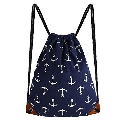 Anchor Drawstring Bag Tote Bags 15.4 x 13.2 Leather Reinforced Corners Gym Sack Bag Drawstring Backpack Lightweight Canvas Gym Sackpack with Inside Pocket for Men Women Kids Hiking Travel, Blue