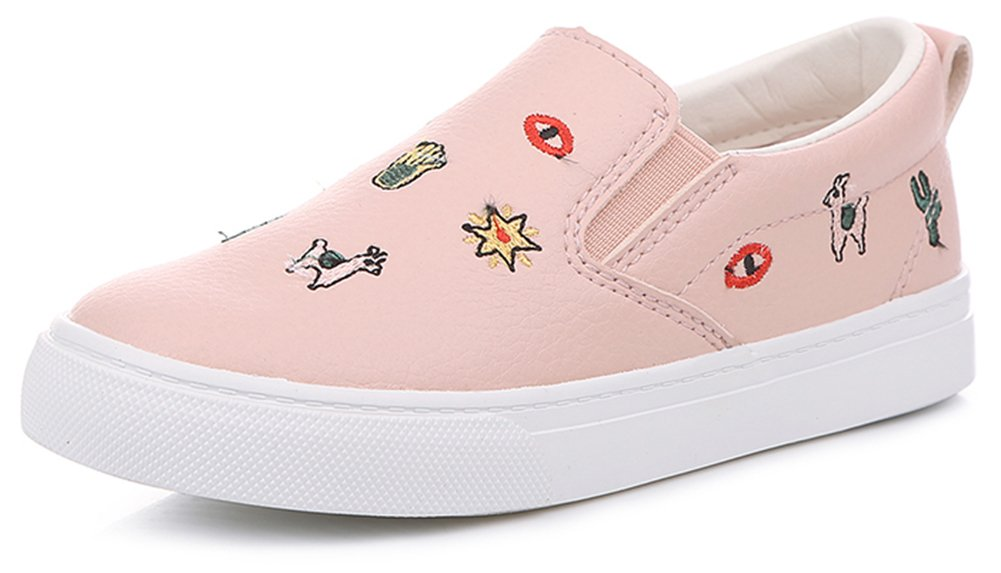 SFNLD nStar Kids' Super Cute Patterned Round Toe Low Top Slip on Walking Loafers Shoes Pink 9.5 M US Toddler