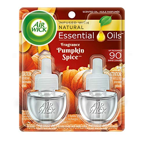 (Air Wick plug in Scented Oil 2 Refills, Pumpkin Spice, (2x0.67oz), Essential Oils, Air Freshener)