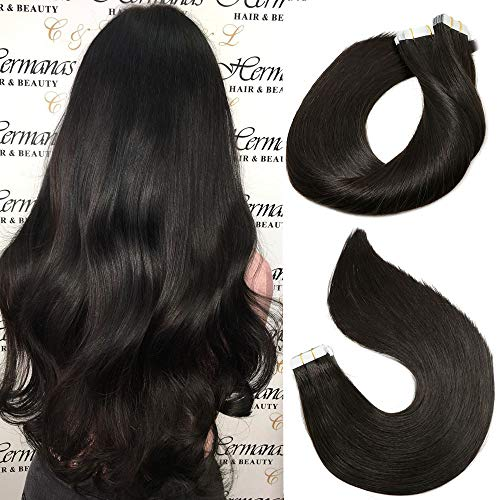 Tape In Remy Human Hair Extensions 8A 20pcs 50g Per Set #1B Natural Black Remy Hair Extensions Seamless Skin Weft Remy Silk Straight Hair Glue in Extensions Glue in Extensions Human Hair 18 Inch