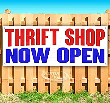 Thrift Store 13 oz Heavy Duty Vinyl Banner Sign with Metal Grommets New Store Many Sizes Available Advertising Flag,