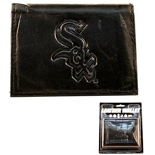 MLB Officially Licensed Genuine Leather Tri-Fold Wallet -Black (Chicago White Sox)