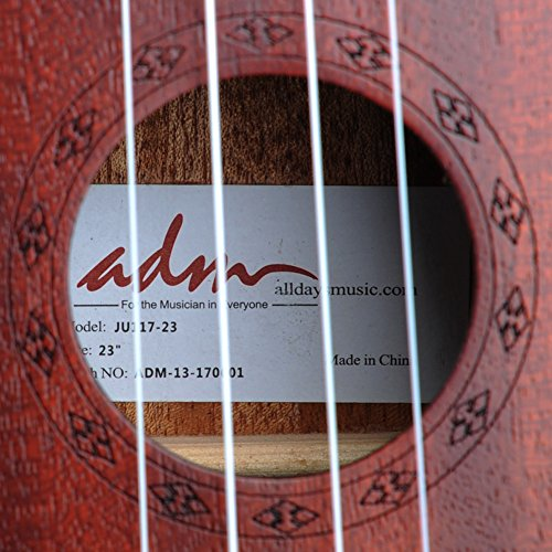 "ADM 23"" Deluxe Mahogany Concert Ukulele Kit with Bag, Strap, Tuner and Picks - Image 4"