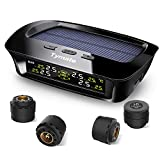 Tymate TPMS Solar Power with HD LCD Screen- Real-time Displays 4 Tires' Pressure, Temperature (-40℃~80℃)- Wireless Tire Pressure Monitoring System with 4pcs External Sensors (0-6.0 BAR)- 6 Alarm Modes