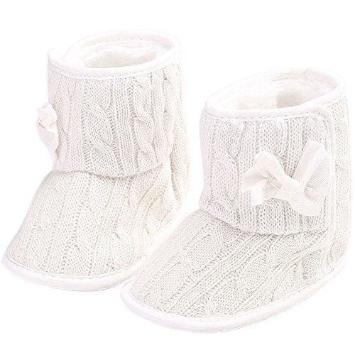etrack-online infantil niñas forro polar lana pelo punto Bowknot nieve Botas blanco roto blanco Talla:12-18 mes blanco