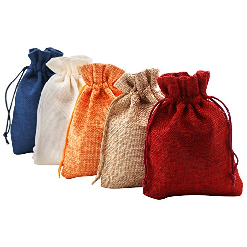 SumDirect Mixed Color Linen Gift Sachets Favors Pouches Party Wedding Jewelry Craft Sacks Burlap Bags with Nylon Drawstring, 3.7x5.5Inches,Pack of 20 -