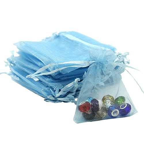 Viatabuna Organza Bags 100pcs 4 x 6 Inch Gift Bags Organza Drawstring Pouch Jewelry Party Wedding Favor Party Festival Gift Bags Candy Bags (Blue) Blue Cross Candle Favors