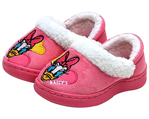 Disney Daisy Duck Yellow Heart White Fur Pink Slippers Indoor Shoes (Parallel Import/Generic Product) (8 M US Toddler)