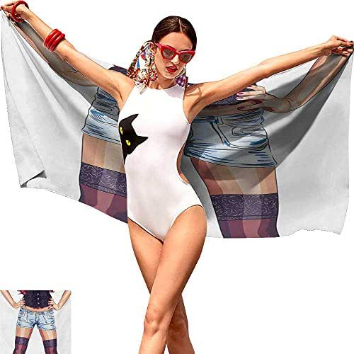 Cash Hoover Towel Beach Towel Fashion,Stylish Young Woman Figure Wearing Jean Shorts and Stockings Artwork Illustration,Multicolorsuitable for Home, Travel, Swimming Use 28