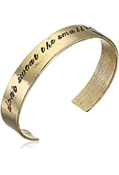 "Alisa Michelle ""Words To Live By"" 14K Gold Plated Don't Sweat The Small Stuff Stamp Cuff Bracelet"