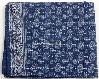 Indian Handblock Indigo Blue Color kantha Quilt Bedding Quilts Bedspread Gudri Handmade 100/% Cotton Queen Size 90X108 Inches