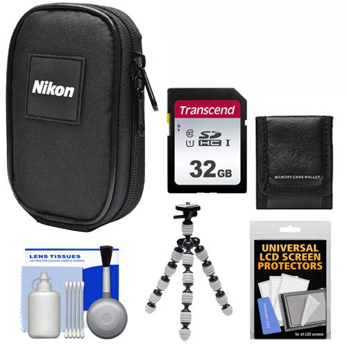 Nikon Coolpix Nylon Digital Camera Carrying Case with 32GB Card + Flex Tripod + Kit for S33, S3700, S7000, S9900, AW130, A10, A300, A900, L32, W100, W300