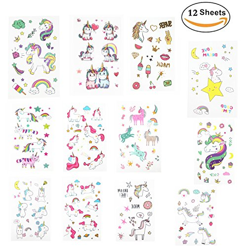 Oexper 12 Sheets of Unicorn Temporary Tattoos Cartoon Rainbow Ice Cream Tattoo Stickers for Girls Boys Kids Adults – Great for Birthday Party Unicorn Party Supplies Party Favors Stocking Stuffers (Rainbow Glitter Tattoos)