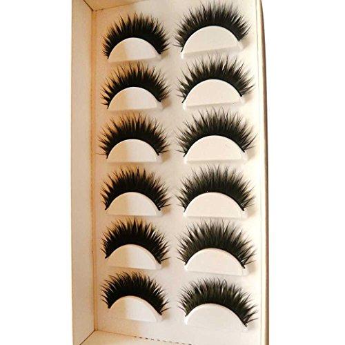 Iuhan 6 Pair Sexy Handmade Natural Women Girls Eye Decoration False Eyelashes (Black)