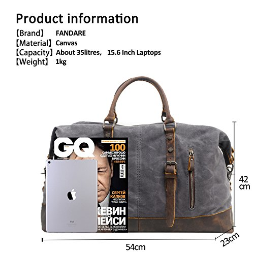 Gray Outdoor Shoulder Canvas Oversized Tote Travel Student Retro Party Bag Handbag Weekend Business Bags Unisex Fandare Waterproof aqSgOC