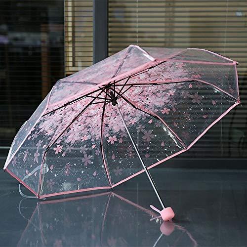Paraguas plegable con flor de cereza estampada. Opción de colores.