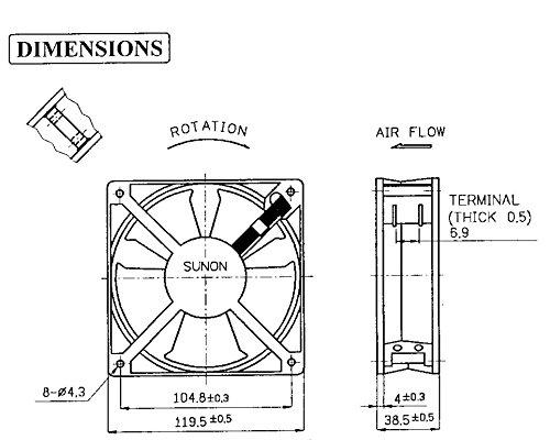 SUNON SP100A-1123XBT-R AC Fan Ball 117 CFM 50dB Flange Mount 20W 60Hz 0.24 Amp 115V 1.5-102884 3150 RPM