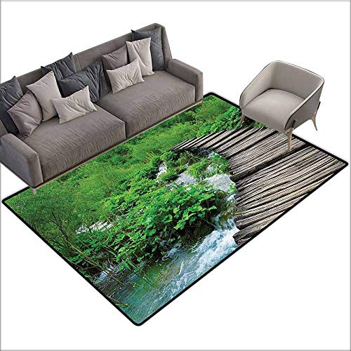 - Designed Kitchen Bathroom Floor Mat Colorful House Decor,Path and Waterfall Board in Croatia Cascade Garden Lake Fence Peaceful View 48