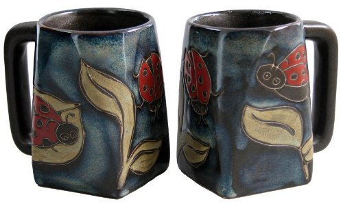 One (1) MARA STONEWARE COLLECTION - 12 Ounce Coffee or Tea Cup Collectible Square Bottom Mug - Lady Bugs/Insects Design