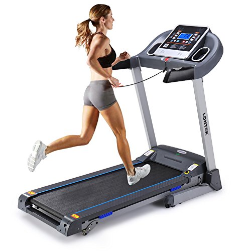 Lontek Cardio Folding Exercise Treadmill Fitness Electric Motorized Running Machine Treadmill,MP3&Dual speakers for volume adjustment,/Incline Home Gym