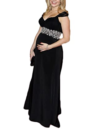 Ri Yun V Neck Maxi Formal Dresses for Pregnant Women Evening Maternity Beaded Sash Prom Party