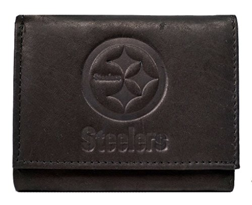 Rico Pittsburgh Steelers NFL Embossed Logo Black Leather Trifold Wallet