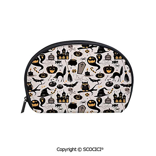 SCOCICI Printed Small Size Storage Makeup Bag Halloween Cartoon Jack o Lantern Tombstone Skulls and Bones Decorative for Women Girl Ladies]()