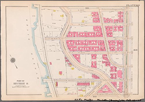 Historic 1916 Map | Plate 163: [Bounded by W. 163rd Street, Broadway, W. 157th Stree | Antique Vintage Map - Broadway 157