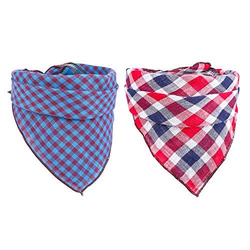 51vIz2uWItL - Dog Bandanas set of 2 Reversible Plaid Printing Kerchief for Small to Large Dogs Cats Pets