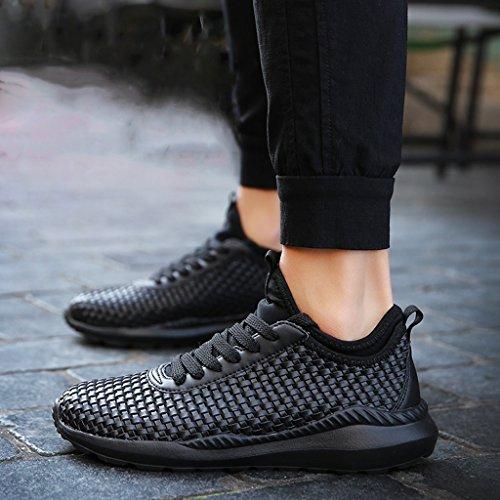 Basket Sneakers Chaussure Sport Course pour Noir Weave Athlétique Pied Formateur Tendance Large LFEU 39 Running 46 Homme Respirant Léger qvzdwtd