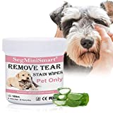 SEGMINISMART Tear Stain Remover Wipes for Cats & Dogs, Cat Eye Wipes, Pet Eye Cleaning Wipes, Tears Stain Removing Treatment, Best Natural Eye Crust Treatment for White Fur, 100 Pre Soaked Cotton Pads