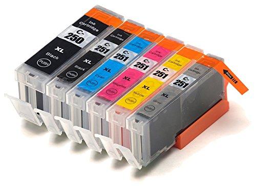 i-Prime Compatible Ink Cartridge Replacement for Canon PGI-250 and CLI-251 (PGI-250XLBK CLI-251XLBK CLI-251XLC CLI-251XLM CLI-251XLY CLI-251XLGY )