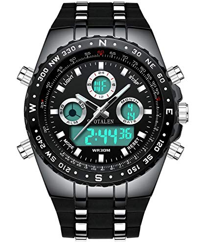 Mens Digital Sports Watch Military Waterproof Analogue Watch Stopwatch Army Shock Resistant LED Backlight Casual Wrist…