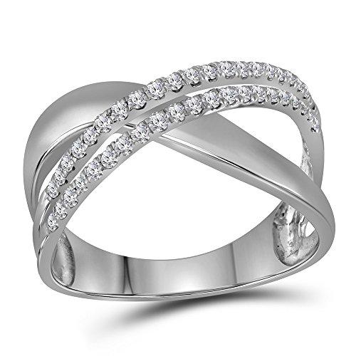 10k White Gold Womens Round Diamond Crossover Band Fashion X Ring Polished Finish Fancy 3/8 ctw Size ()