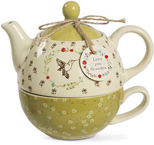 Live Simply - Love you Grandma Green Floral Hummingbird Teapot and Teacup for One Set