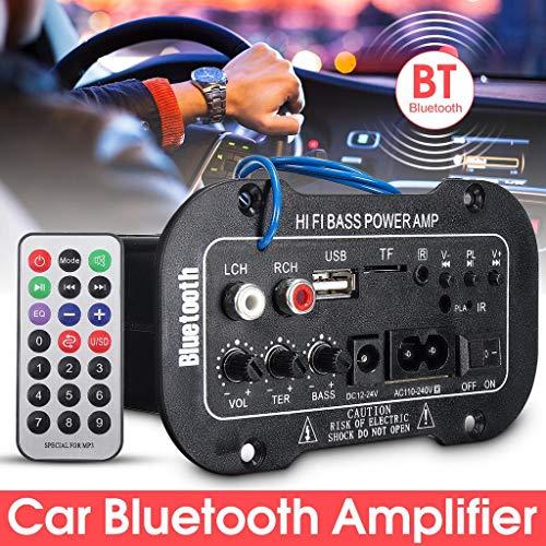 (FAIYIWO 50W HiFi Stereo Auto Car Amplifier Audio Bluetooth Digital Bass Power AMP MP3 USB TF Remote Control FAIYIWO Black, Size : 655cm )