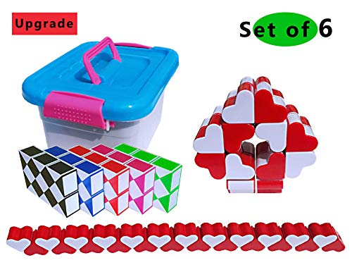 GeniusCells Big Magic Snake Puzzle Toy Set Twisty Sensory Toys 3D Puzzles DIY Rubik's Snake Fidget Cube Collection Brain Teaser Party Favors Games for Kids